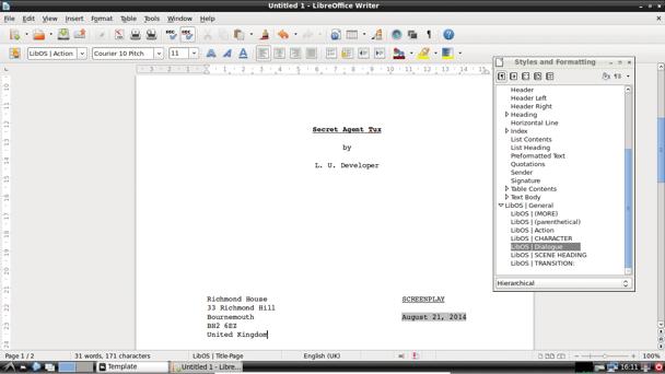 Linux screenwriting software libosscreenplay