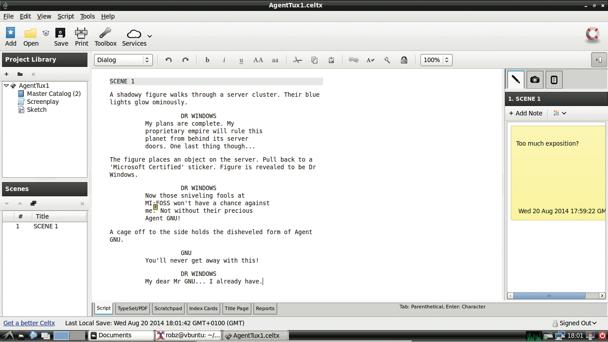 Linux screenwriting software celtx