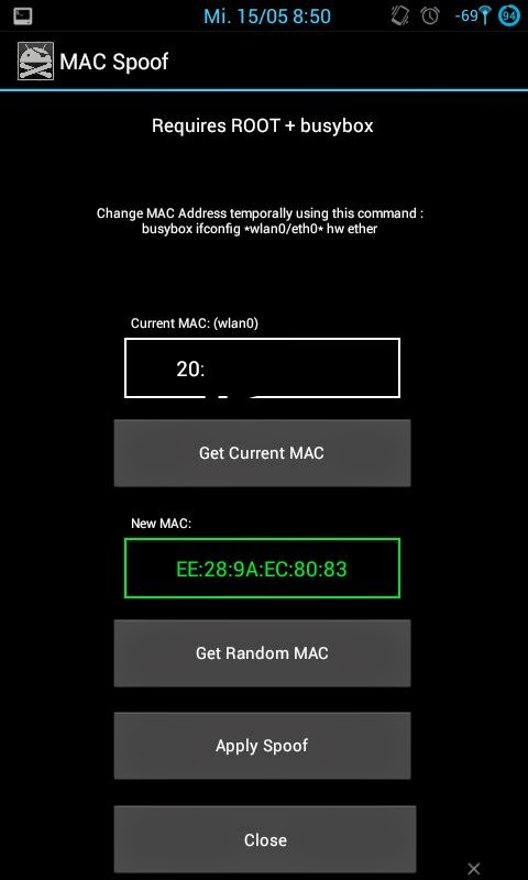 How to change MAC address android