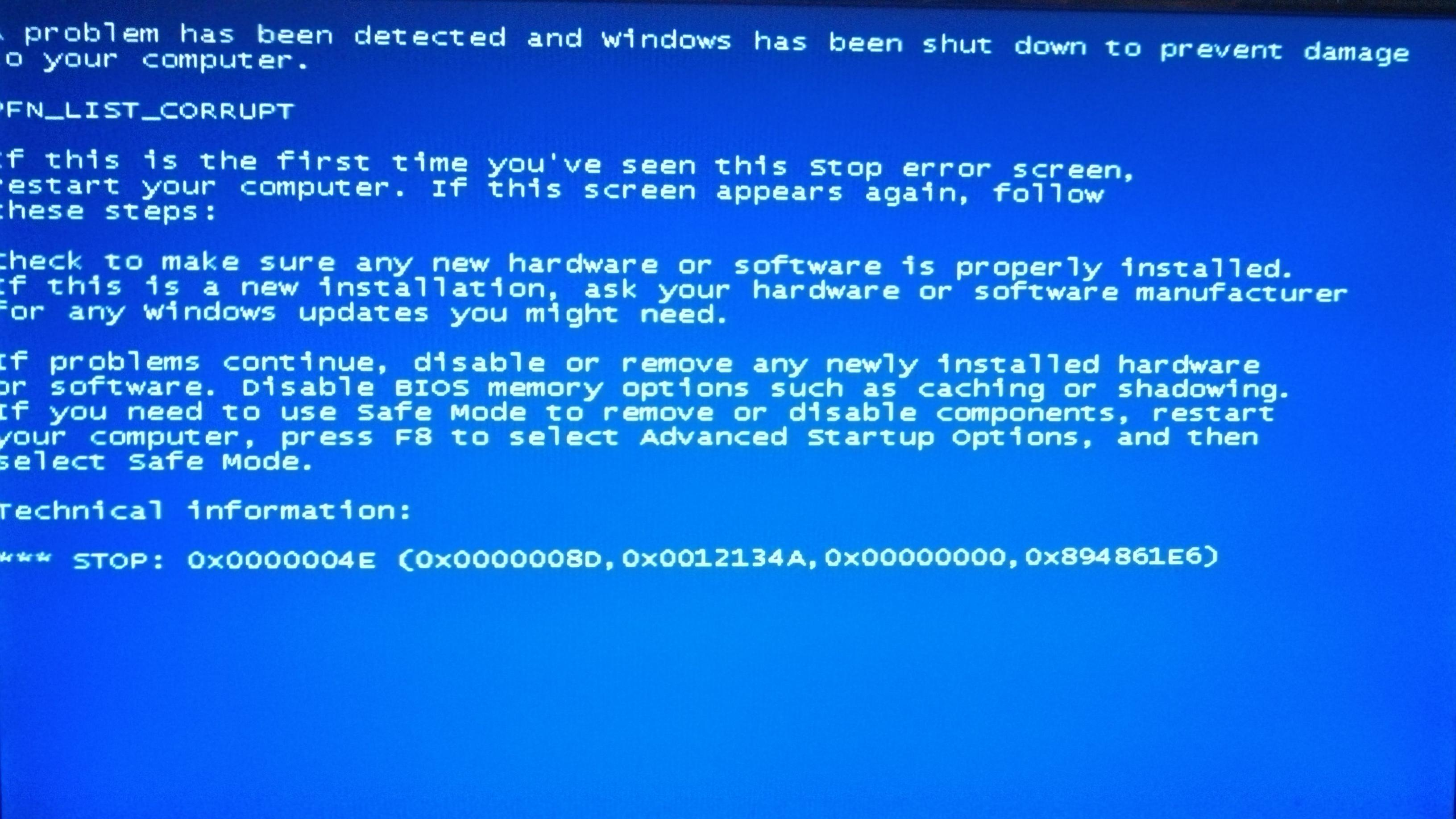 How to resolve windows blue screen problem