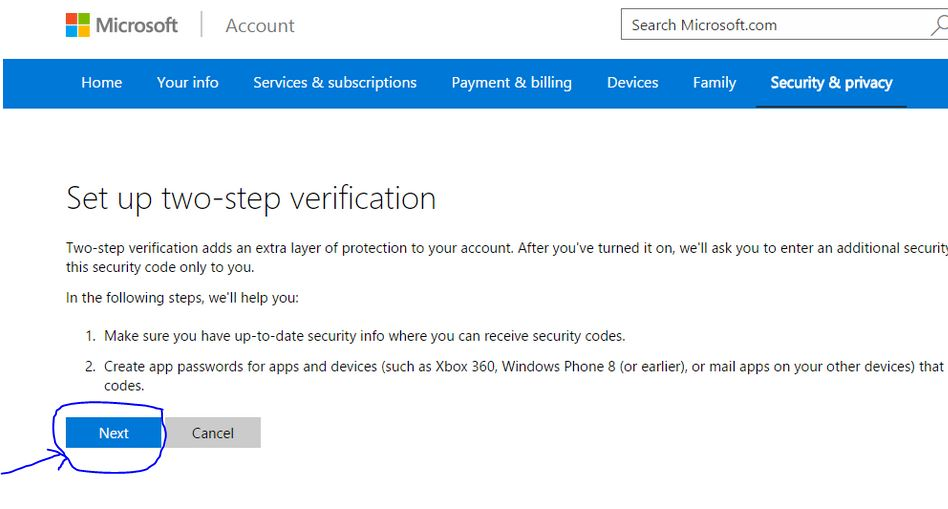 click next for enable two step verification