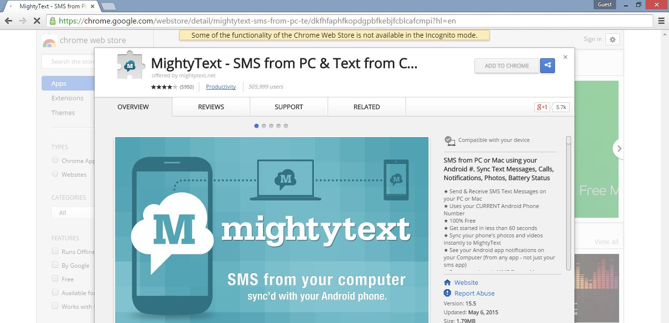 add Mighty Text extension in your Google Chrome browser