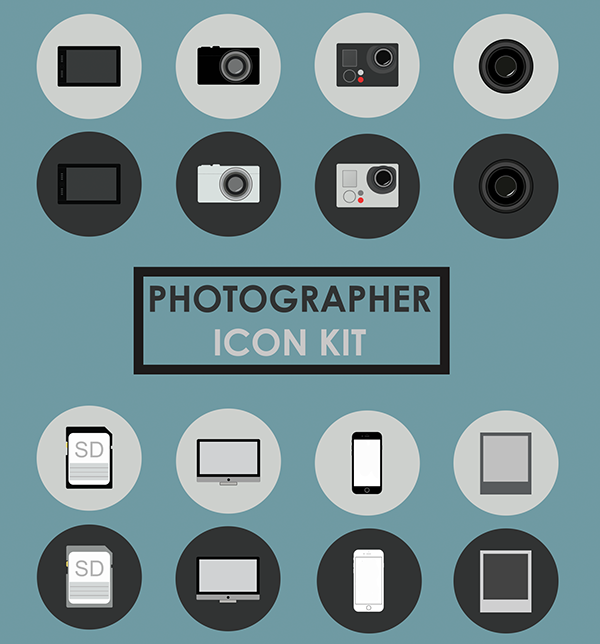 Free Photographer PSD Icons Kit