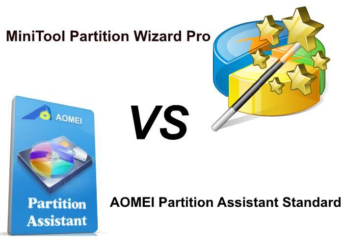 Compare: MiniTool Partition Wizard Pro vs AOMEI Partition Assistant Standard
