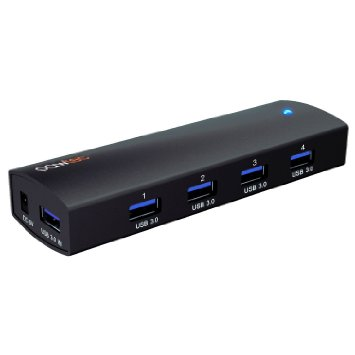 The Pawtec 4-Port Aluminum USB 3.0 SuperSpeed Powered Hub Compact & Portable AC Adapter