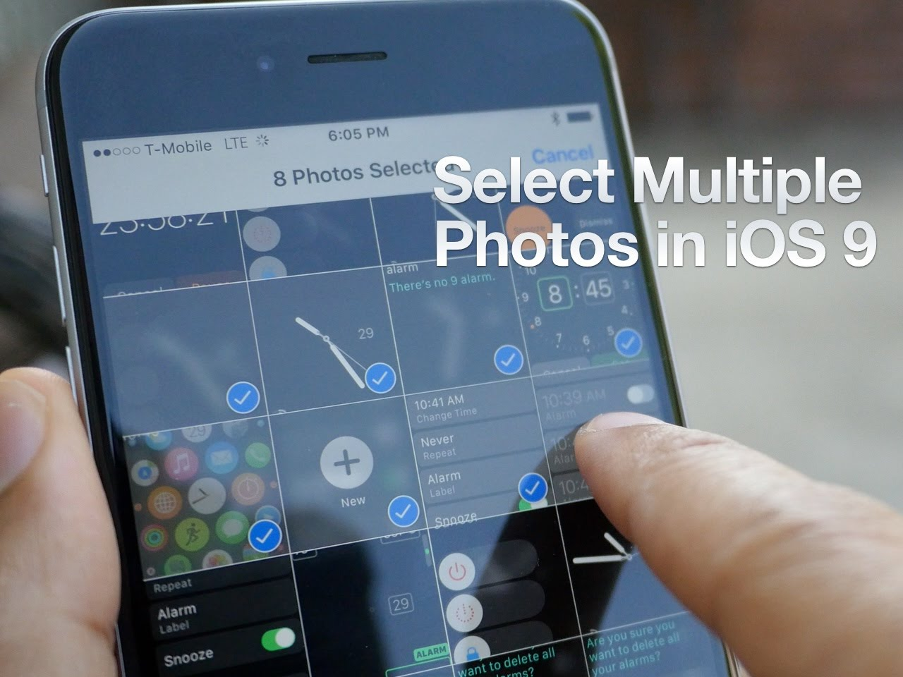 How to quickly select multiple photos in iOS 9