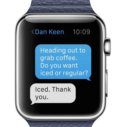 How to set custom quick reply messages on Apple Watch