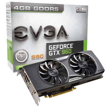 EVGA GeForce GTX 960 4GB SSC GAMING ACX 2.0+, Whisper Silent Cooling w Free Installed Backplate Graphics Card 04G-P4-3967-KR