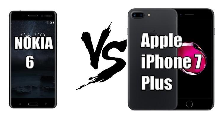 nokia 6 vs apple iphone 7 plus