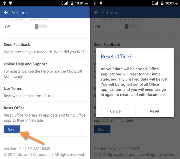 how to reset office on android