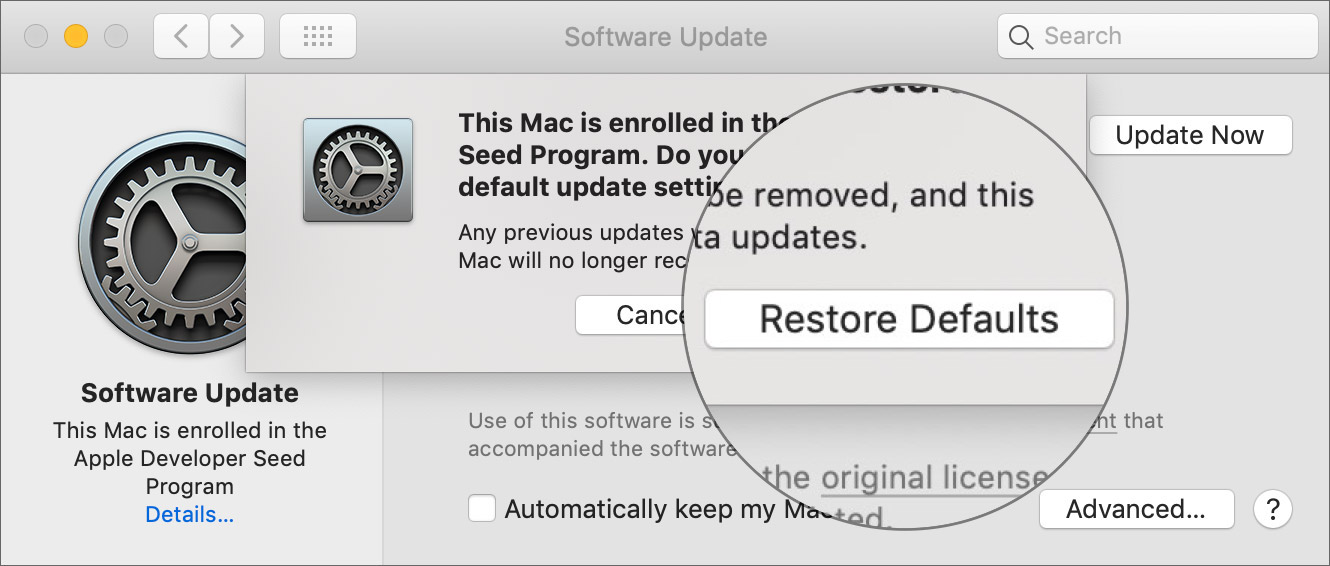 Click Restore defaults to participate in the Apple Developer Starter program