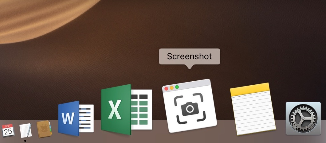 Screen capture application with MacOS Mojave Dock