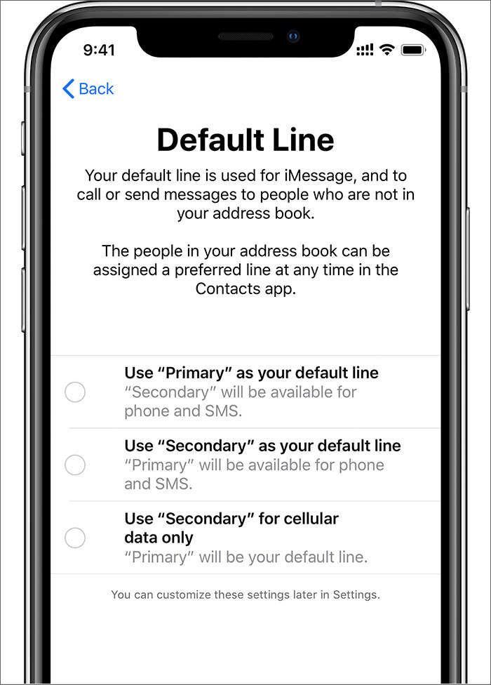 Set your default number on the iPhone Xs or Xs Max