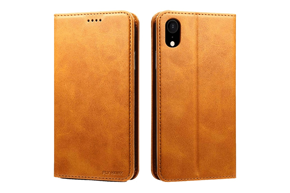 Fly Hawk Leather Wallet Case for our iPhone XS Max case with a rounded horizon.