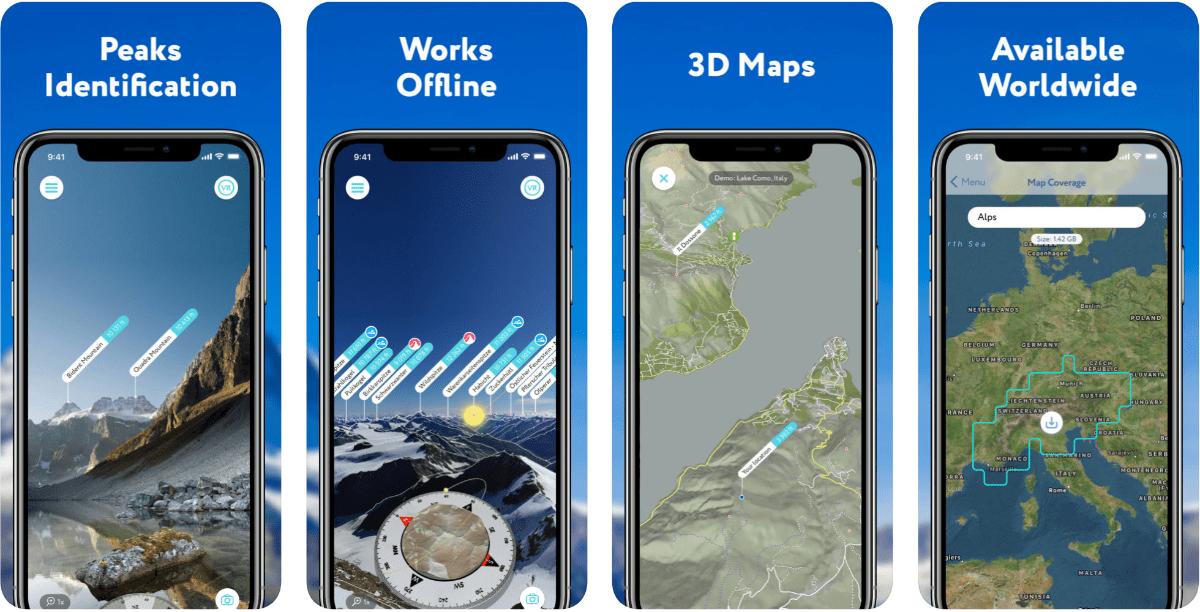 Screenshot of PeakVisor in summary of outdoor AR application