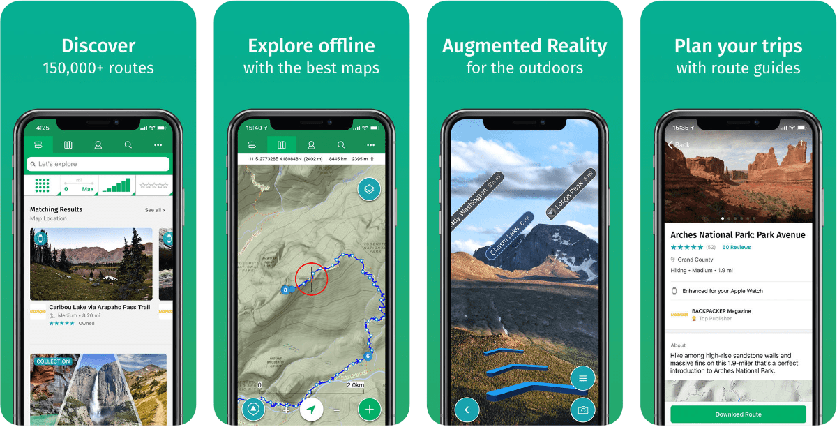 Screenshot of Viewranger in summary of outdoor AR application