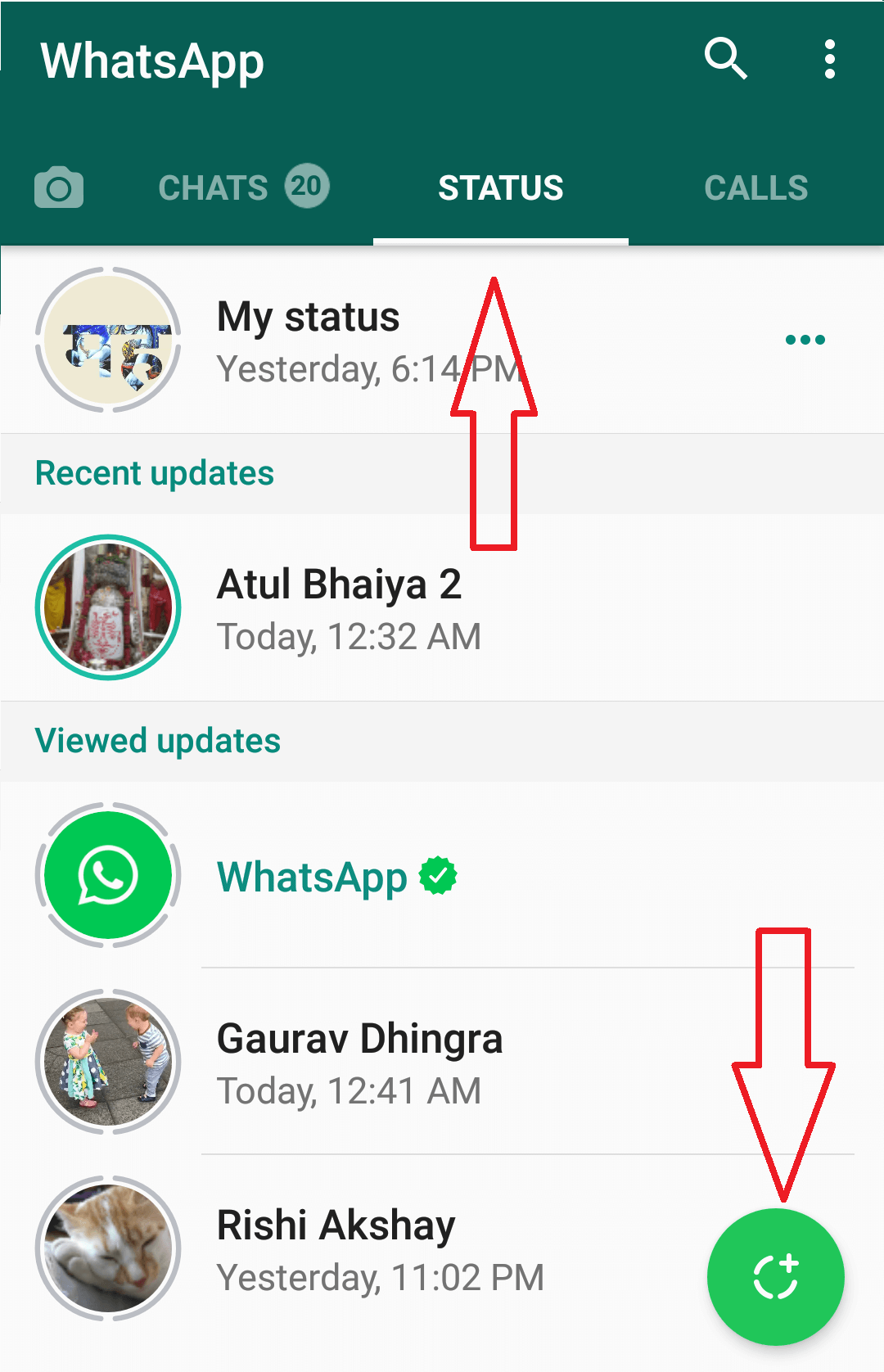 Whatsapp status function