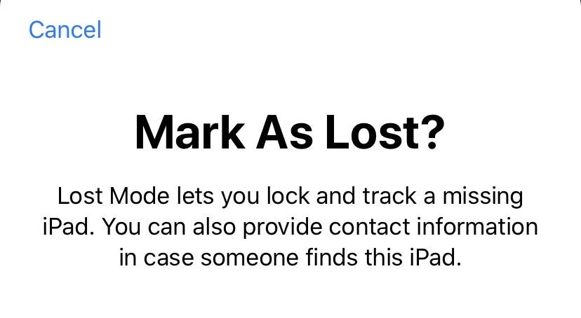 Mark as a lost iPhone