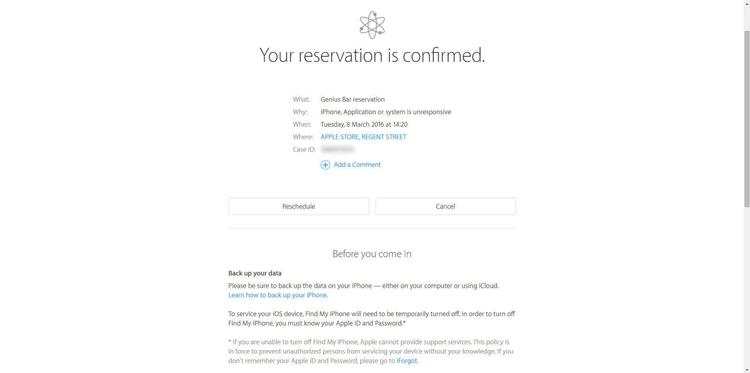 How do I book an appointment at the Apple Store for a Genius Bar Reservation has been confirmed