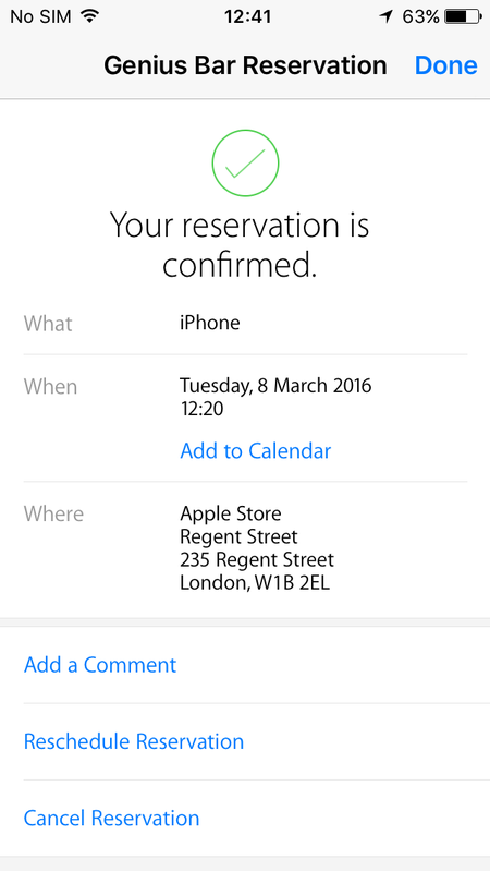 How do I book an appointment at the Apple Store for a Genius Bar App to confirm