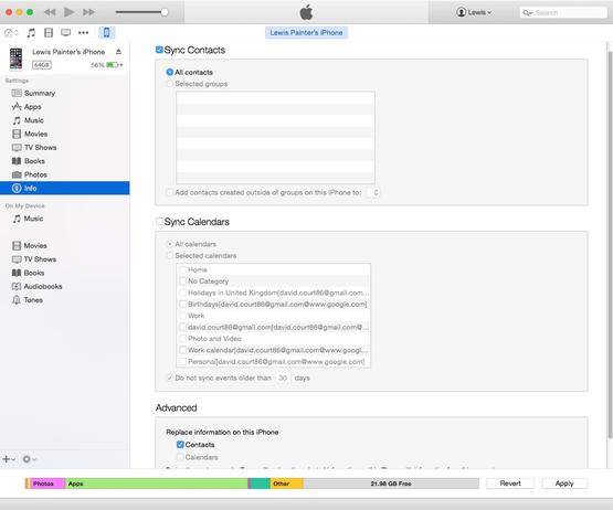 Transferring contacts using iTunes