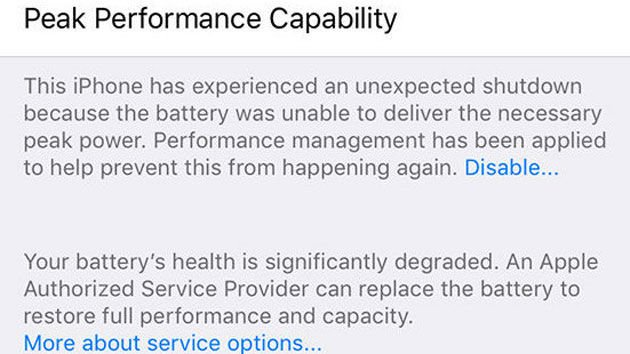 the iPhone will have to experience unexpected shut down