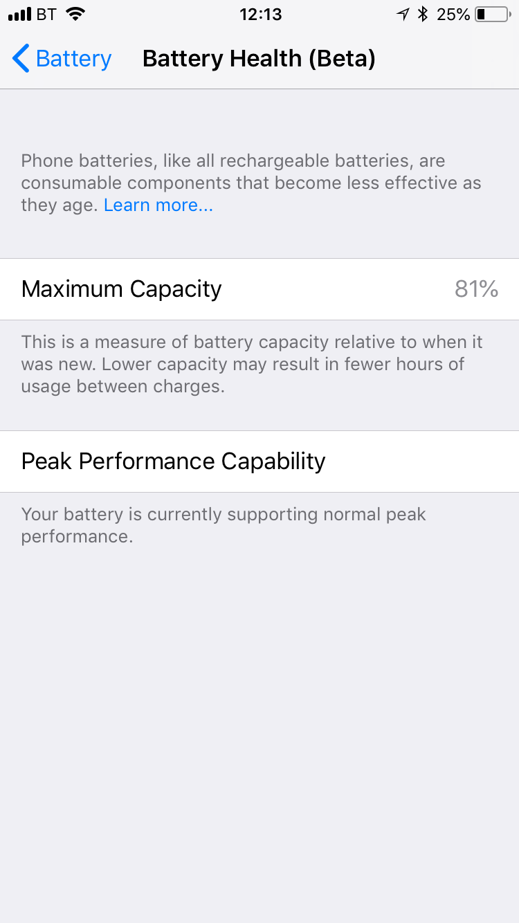 How do you tell the battery life of the iPhone