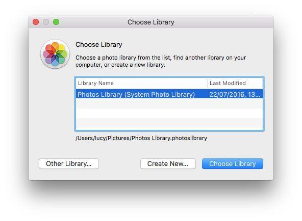 Delete photos for Mac: Create a new library in Photos