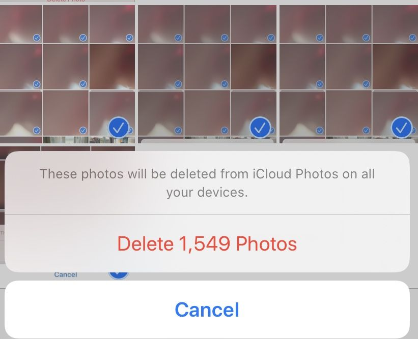 Delete thousands of iPhone photos