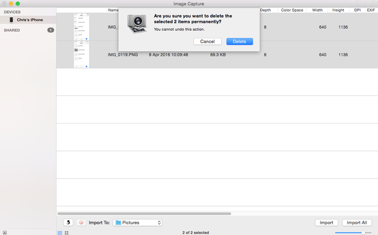 How to delete all photos from iPhone: Image Capture Delete