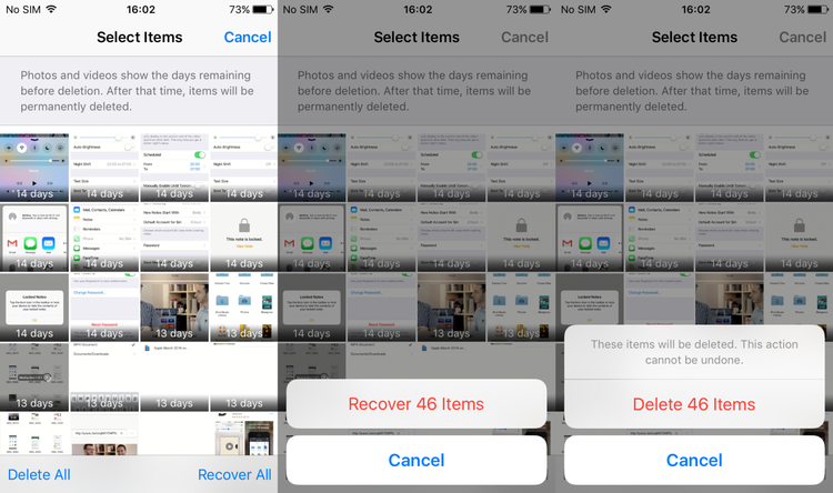 How to delete all photos from iPhone: Deleted recently
