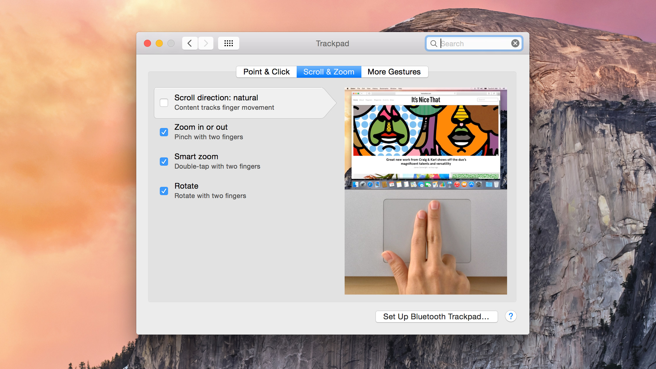 control of OS x gestures