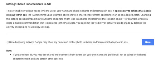 Turn Off Google's Shared Endorsements