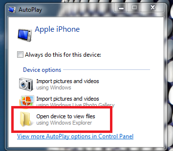 Transfer photos from iPhone to PC: Windows Explorer