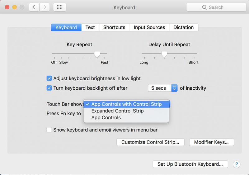 Use and customize Touch Bar on MacBook Pro 2016