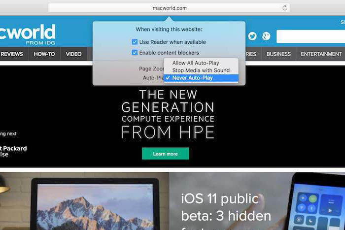 How to stop autoplay video in Safari and Chrome on Mac: High Sierra