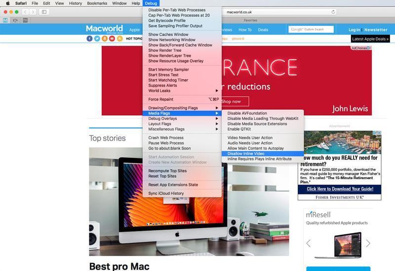 Stop Autoplay video in Safari and Chrome on Mac: Debug menu