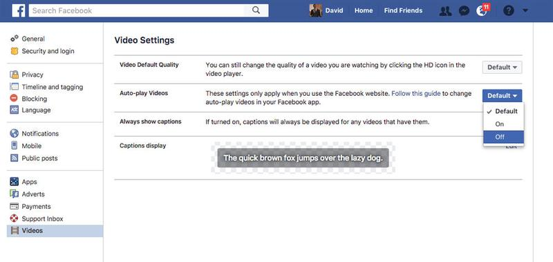 Stop Autoplaying Videos on Mac: Facebook