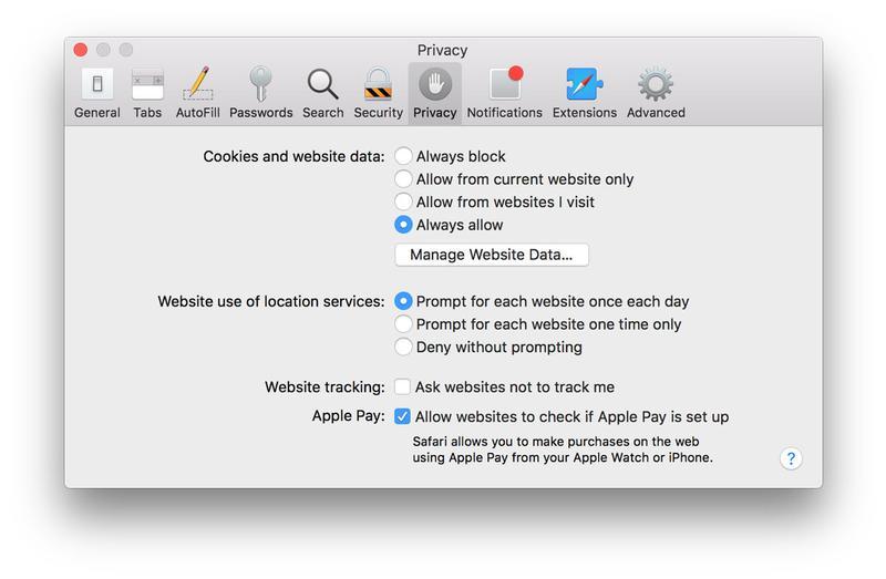 Protect privacy on a Mac: Safari privacy settings