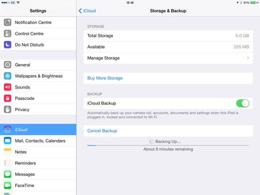 Backup of storage and backup