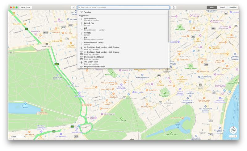 How to use Apple Maps on Mac: Recent & Favorites