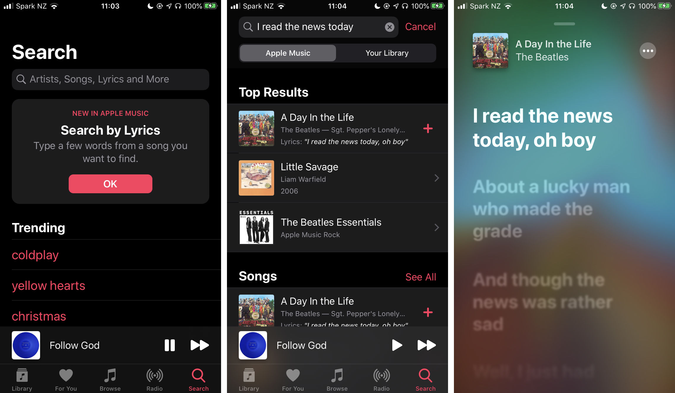 Search with lyrics on Apple Music