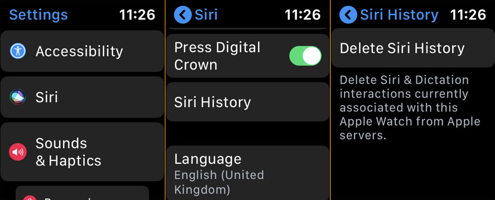 How to delete Siri history and data: Apple Watch settings