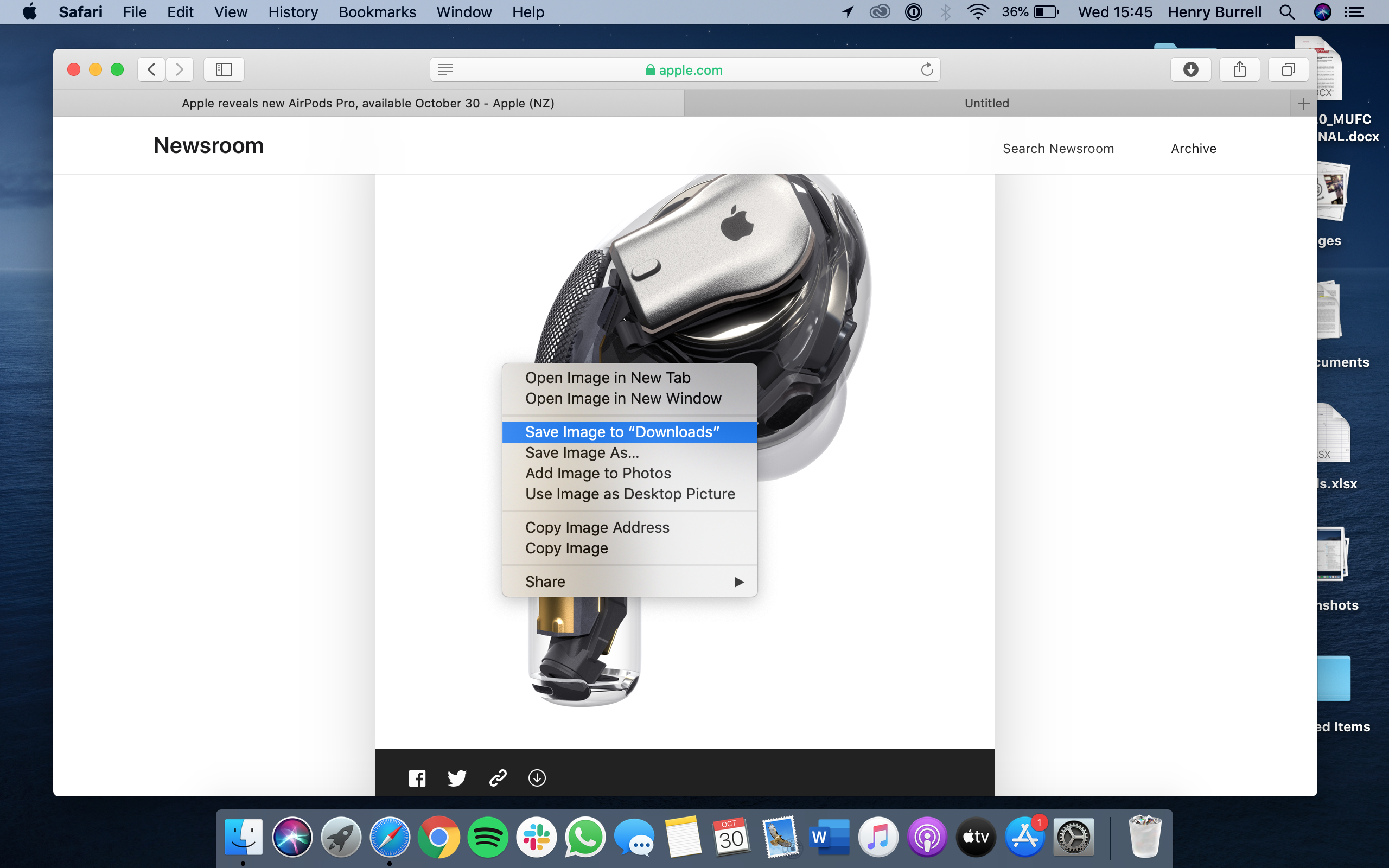 Right click to save the image to Safari on Mac