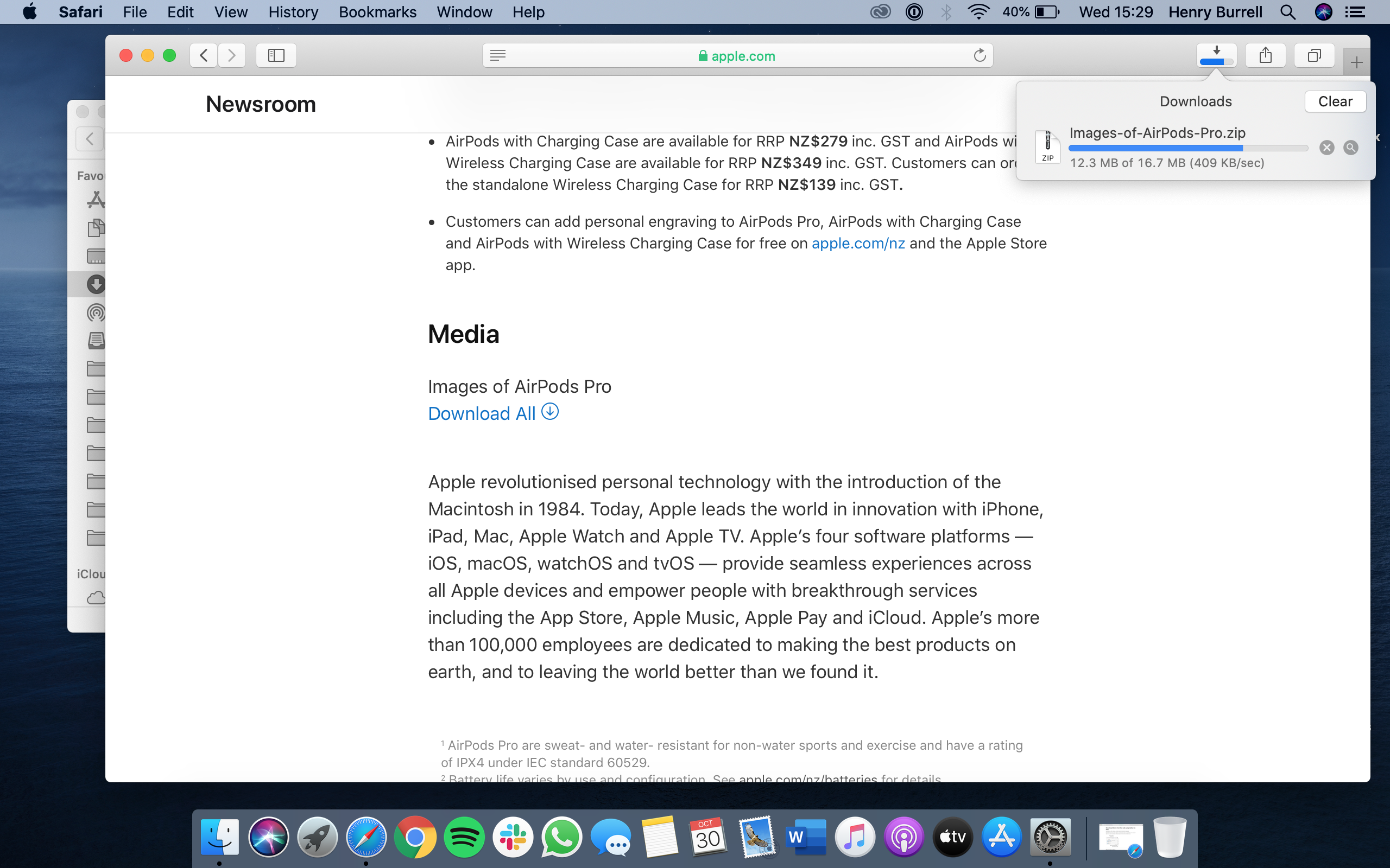 Download status on Safari on Mac
