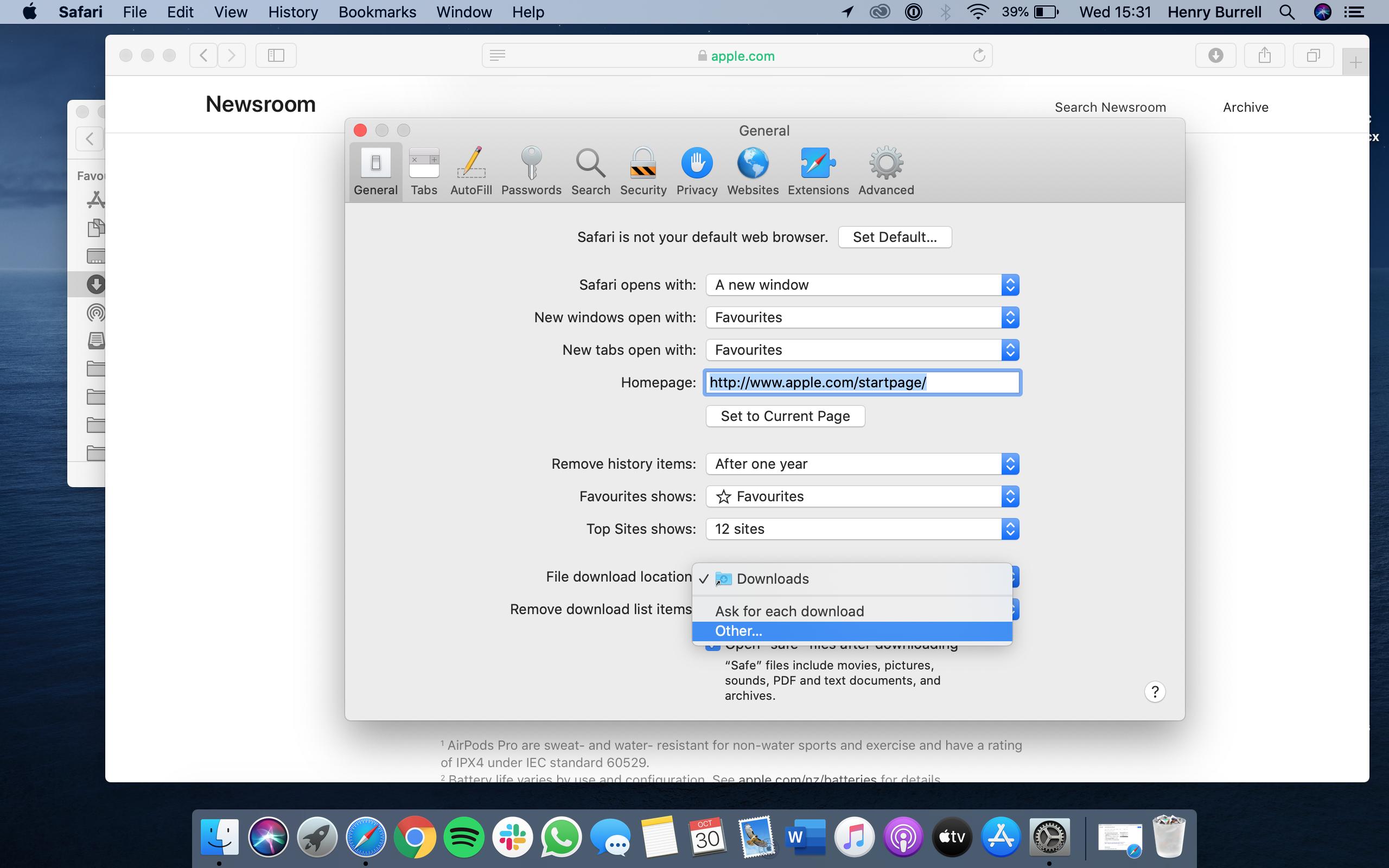 Change storage location of downloads on Mac