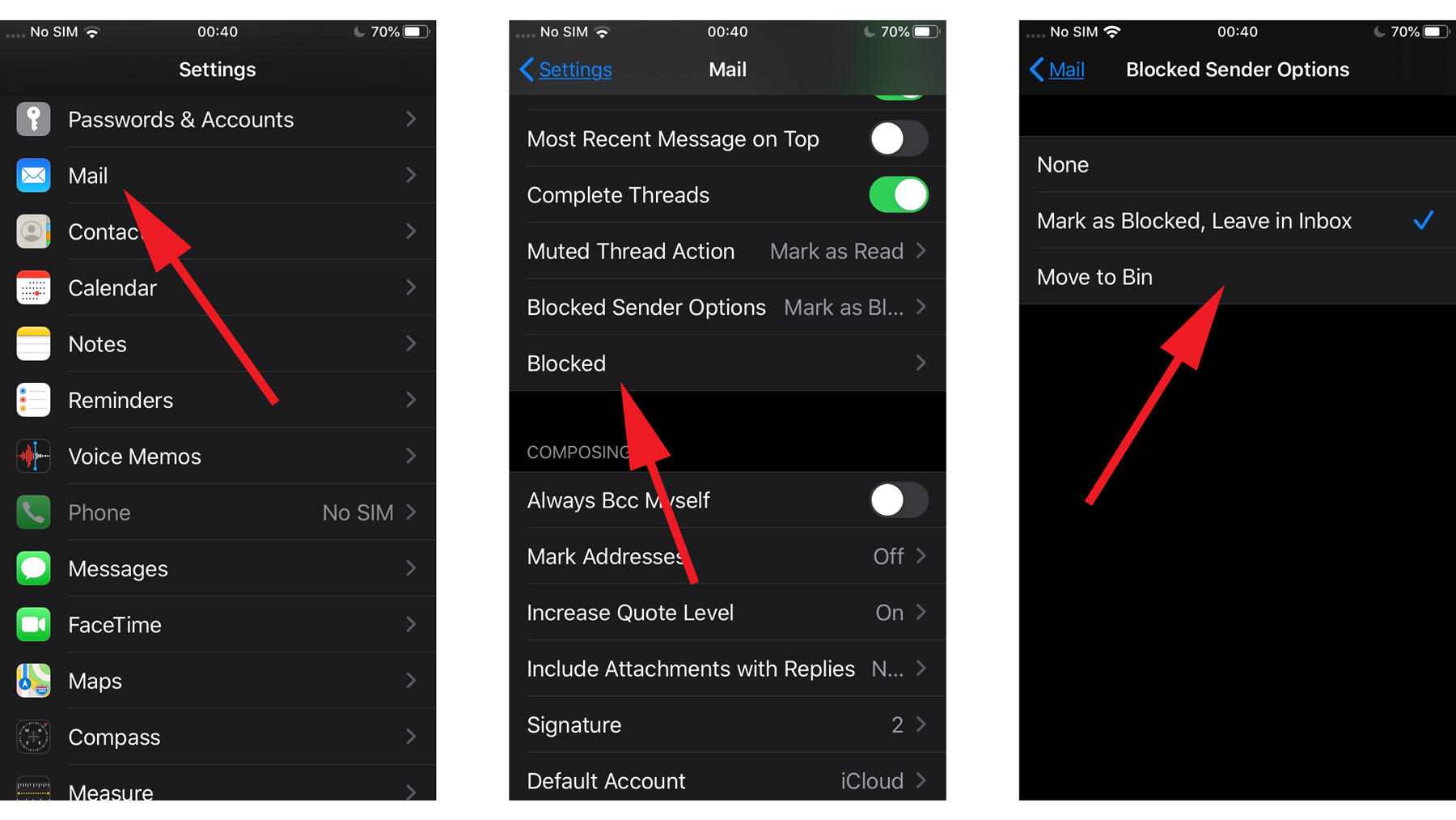 Block email in iOS 13: Decide what to do with emails from blocked users