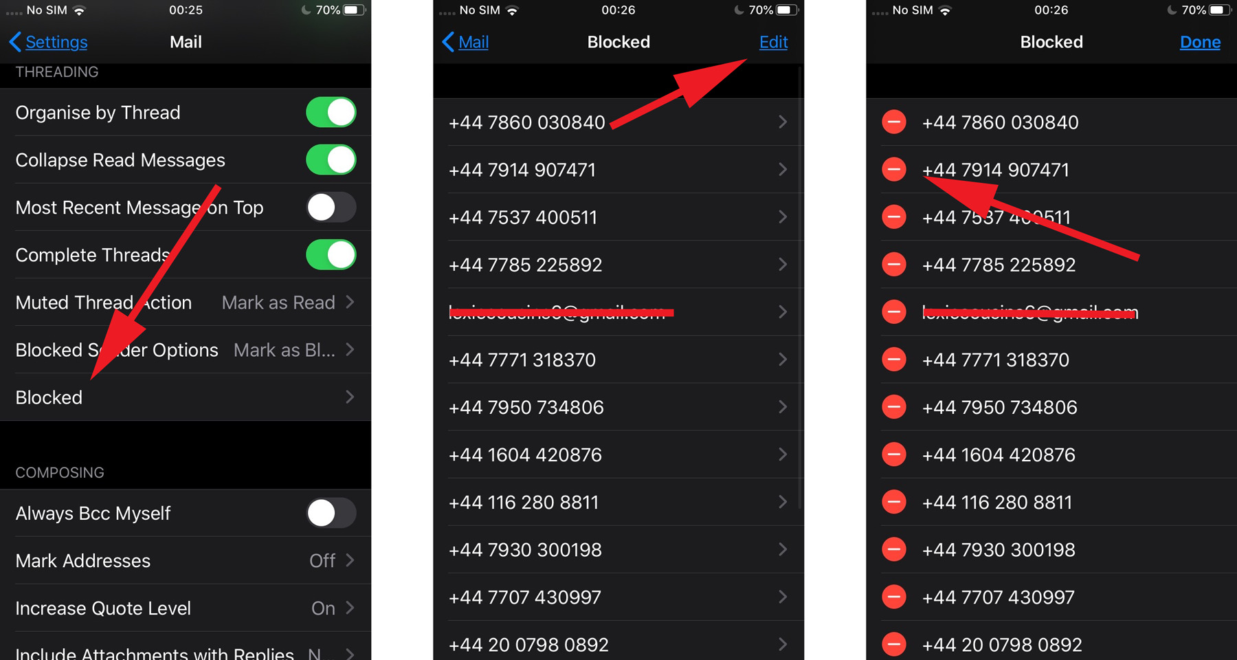 Block email in iOS 13: unblock a contact