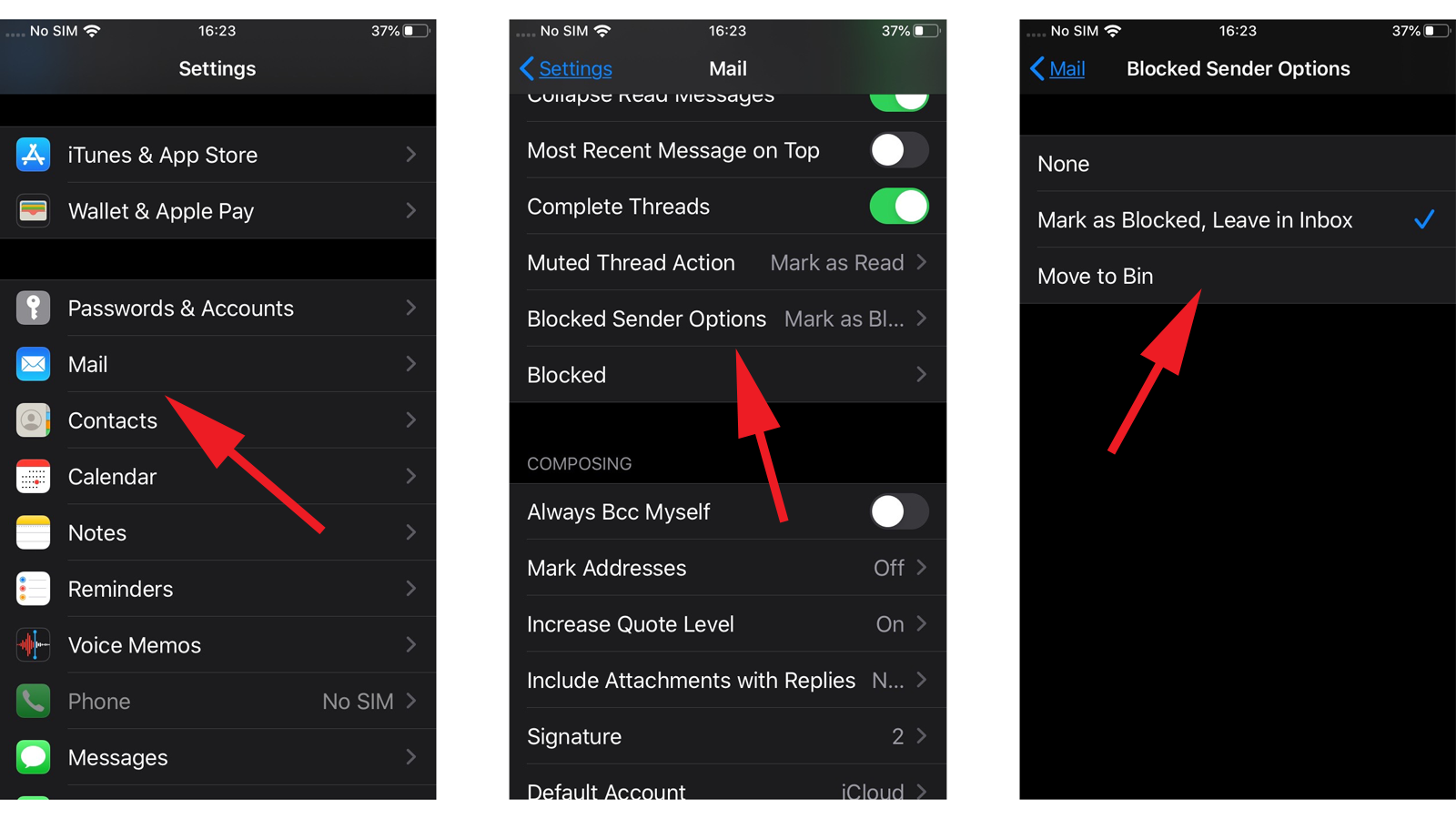 Unsubscribe from junk email in iOS 13: blocked senders options