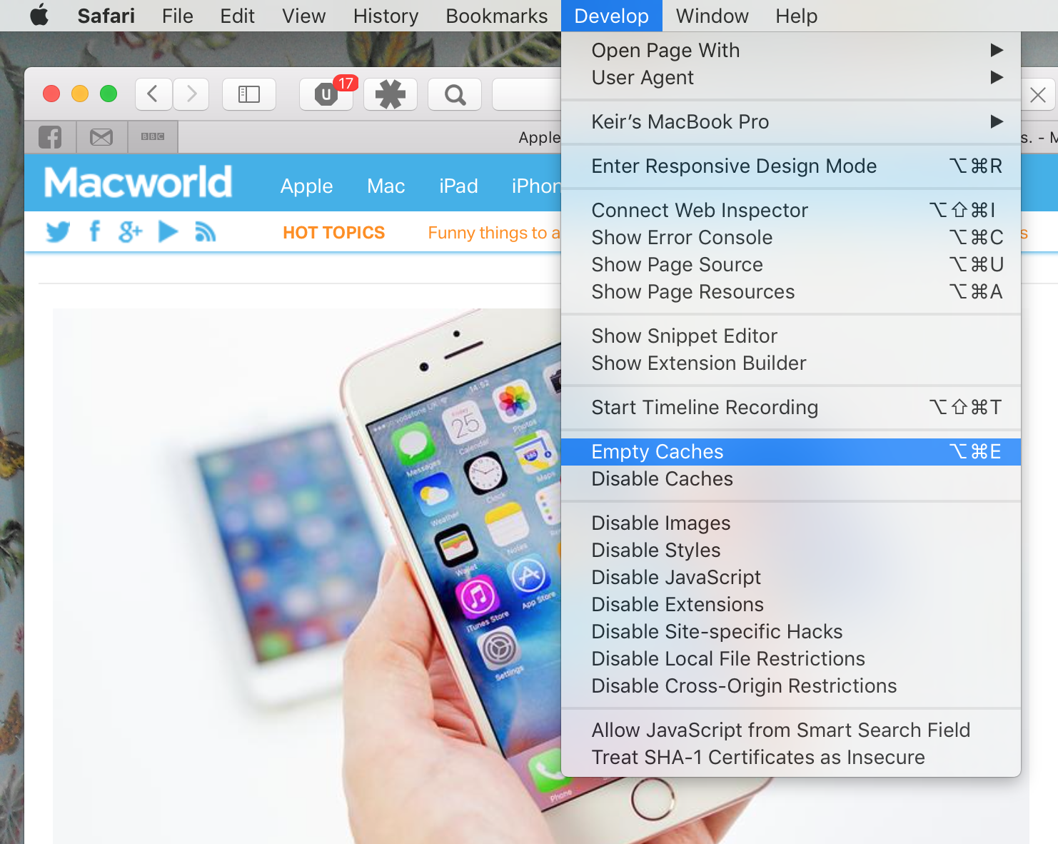 How to clear Safari's cache and history on Mac: Empty Caches